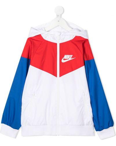 С рукавами белая куртка с капюшоном Nike Kids