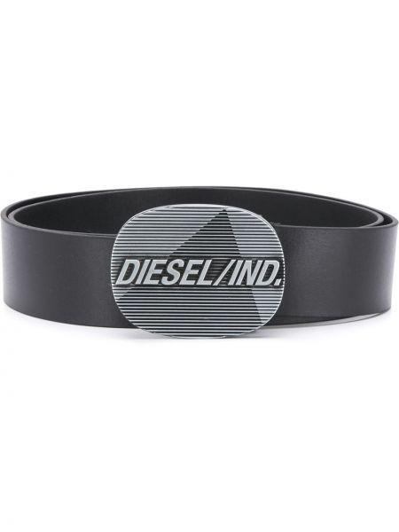 Черный кожаный ремень с пряжкой Diesel