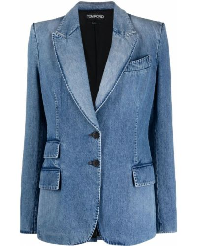 Однобортный синий удлиненный пиджак с карманами Tom Ford
