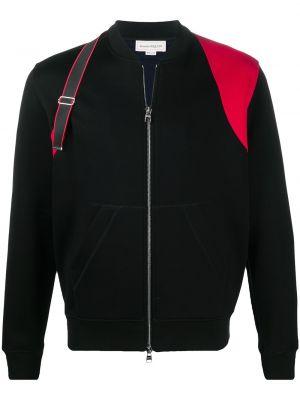 С рукавами черная длинная куртка с воротником Alexander Mcqueen