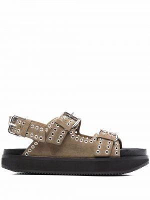 Czarne sandały skórzane srebrne z klamrą Isabel Marant