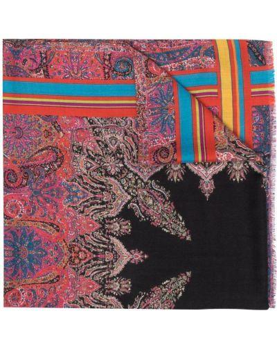 Różowy z kaszmiru szalik z printem Etro