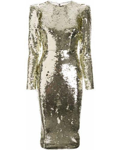Приталенное платье миди - желтое Alex Perry