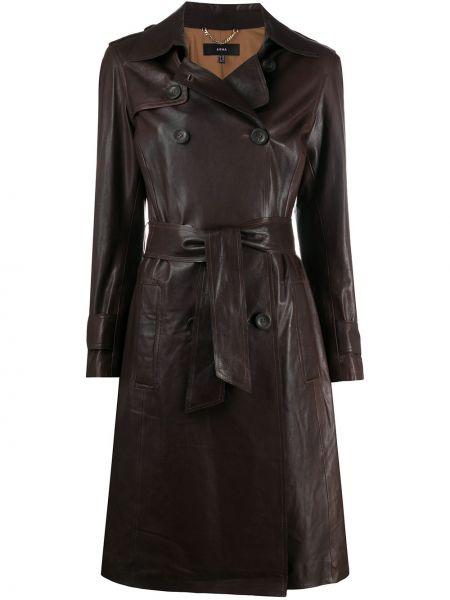 С рукавами коричневое пальто на пуговицах двубортное Arma