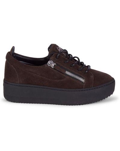 Buty sportowe skorzane - brązowe Giuseppe Zanotti