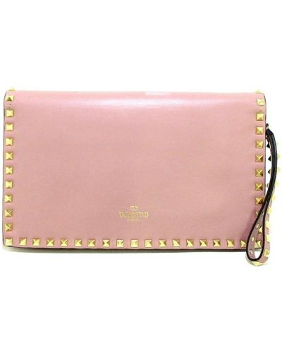 Kopertówka skórzana - różowa Valentino Vintage