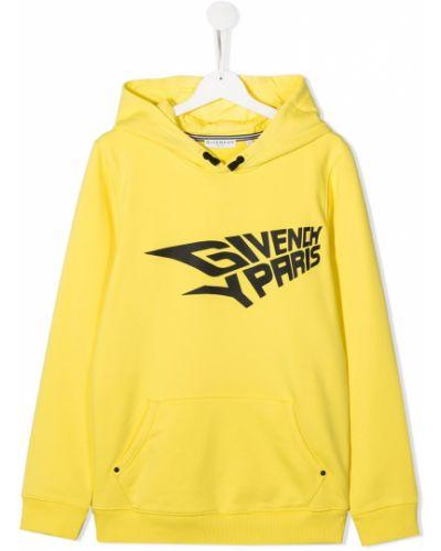 Желтая толстовка с капюшоном на шнурках Givenchy Kids