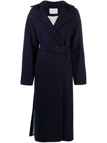 Синее шерстяное длинное пальто с накладными карманами с лацканами Tela