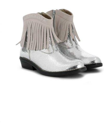 Srebro kowboj buty z prawdziwej skóry z ozdobnym wykończeniem Monnalisa