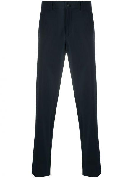 Хлопковые синие брюки узкого кроя Prada Linea Rossa