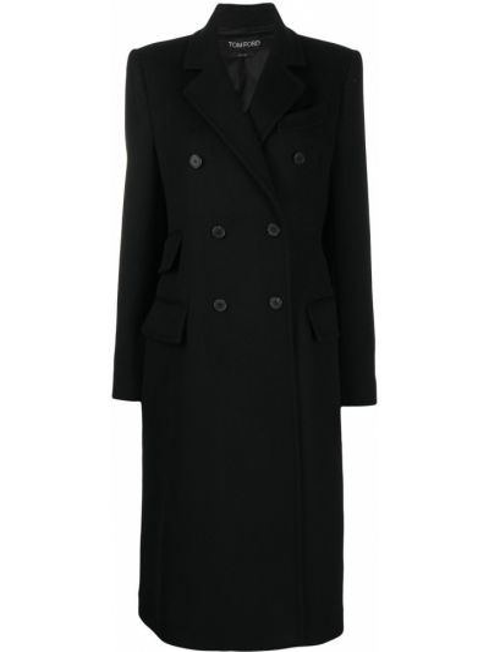 Кашемировое черное длинное пальто двубортное Tom Ford