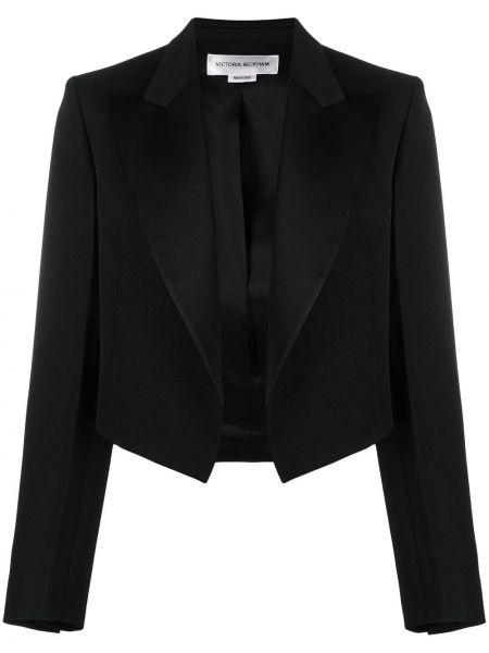 С рукавами шерстяной черный удлиненный пиджак Victoria Beckham
