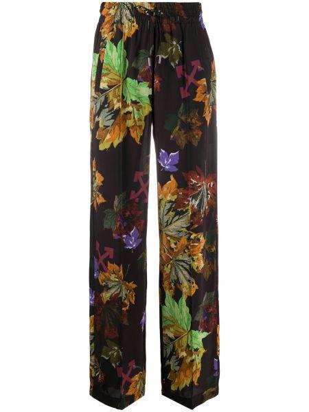 Czarny spodni szerokie spodnie z kieszeniami bezpłatne cięcie Off-white
