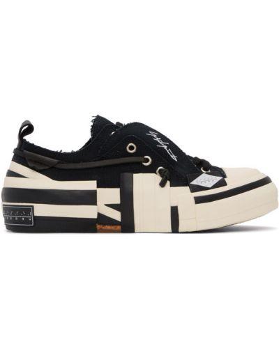 Черный ажурный топ на шнуровке с вышивкой Yohji Yamamoto