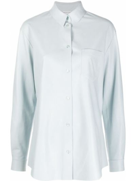 Кожаная синяя с рукавами рубашка Maison Ullens