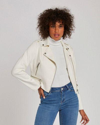 Кожаная белая кожаная куртка Morgan