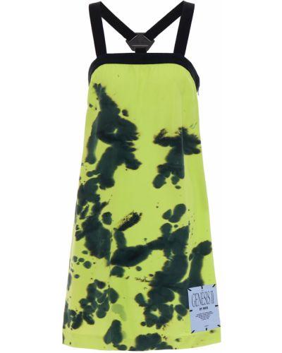 Шелковое зеленое платье мини на крючках Mcq Alexander Mcqueen