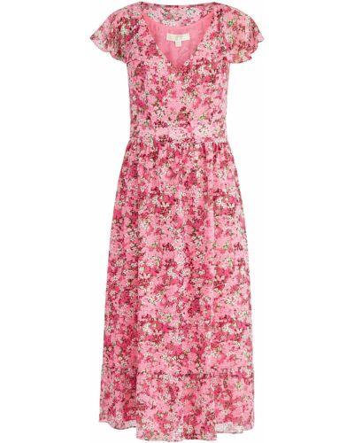 Платье миди с цветочным принтом с V-образным вырезом Michael Michael Kors
