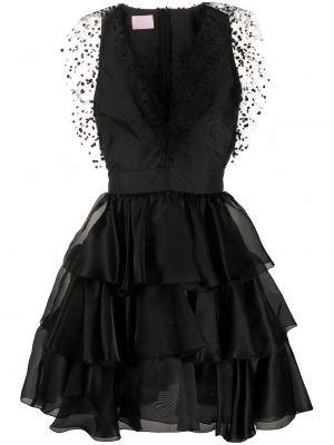 Czarna sukienka mini rozkloszowana z jedwabiu Giamba
