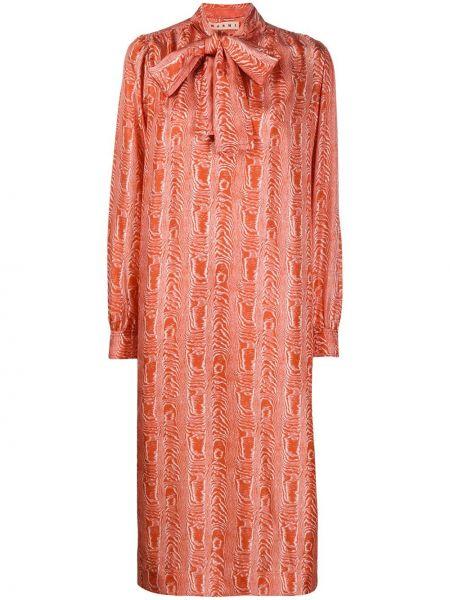Шелковое платье с оборками Marni