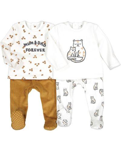 С рукавами хлопковая домашняя пижама с брюками Laredoute