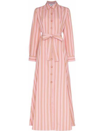Розовое платье макси с воротником с манжетами с нашивками Evi Grintela
