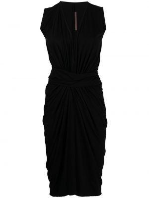 Прямое черное платье миди без рукавов Rick Owens Lilies