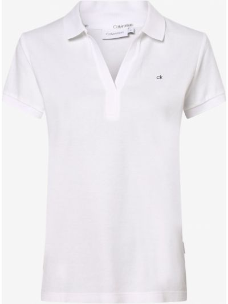 T-shirt z dekoltem w serek - biała Calvin Klein