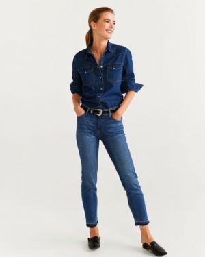 Прямые джинсы укороченные слим фит Mango