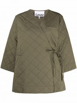 Зеленое стеганое пальто с V-образным вырезом Ganni