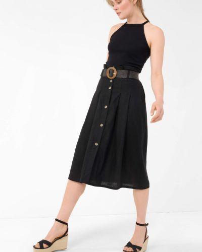 Czarna spódnica midi rozkloszowana zapinane na guziki Orsay