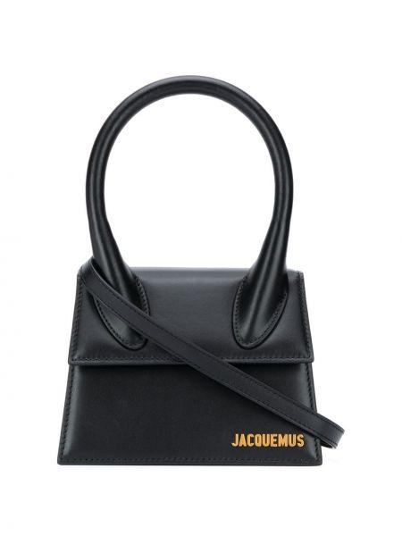 Кожаная черная сумка-тоут круглая Jacquemus