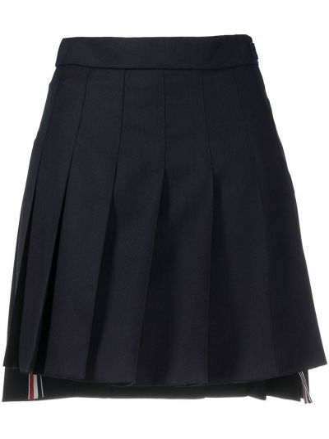 Шерстяная юбка мини - синяя Thom Browne