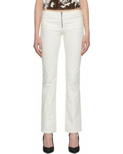 Białe jeansy z paskiem Miaou