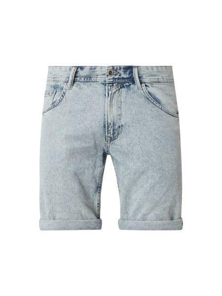 Bawełna bawełna niebieski dżinsowe szorty z paskami Tom Tailor Denim