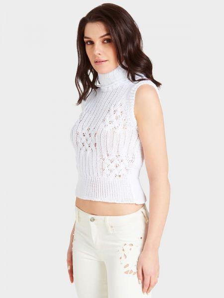 Biały pulower bez rękawów materiałowy Guess