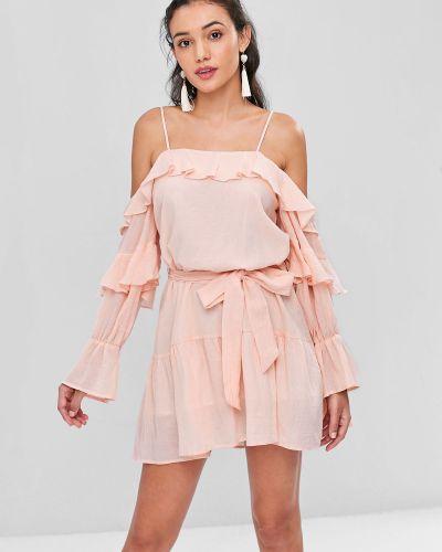 Платье с поясом розовое через плечо Zaful