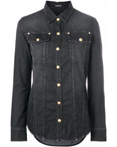 Джинсовая рубашка классическая с длинным рукавом Balmain