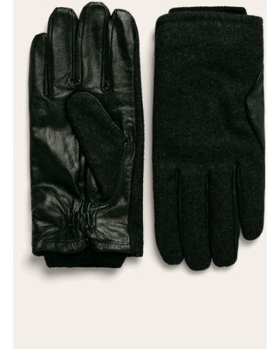 Czarne rękawiczki skorzane Pepe Jeans