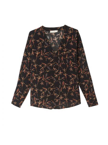 Черная блузка с длинным рукавом с V-образным вырезом с рисунком из вискозы See U Soon