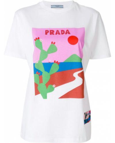 Футболка в рубчик хлопковая Prada