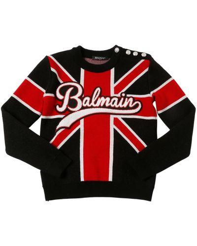 Prążkowany czarny sweter wełniany Balmain