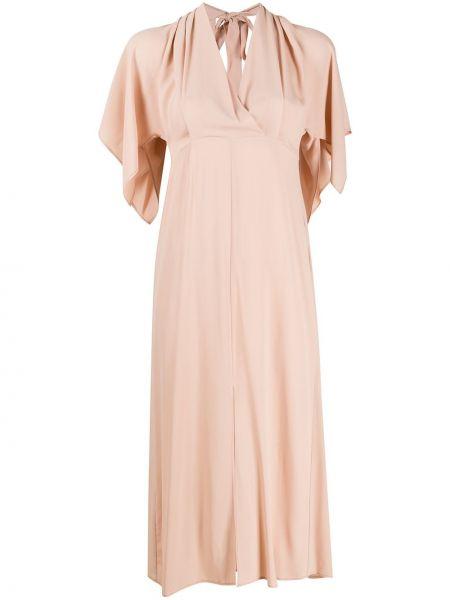 Платье миди с открытой спиной с V-образным вырезом Semicouture