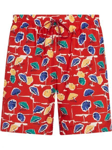 Пляжные красные плавки-боксеры с завязками Dolce & Gabbana