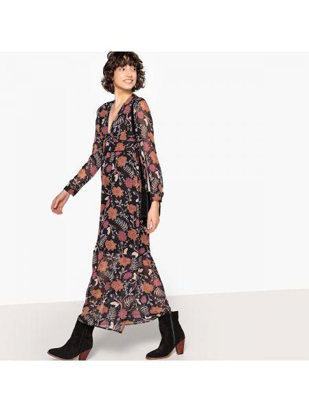 Платье миди с V-образным вырезом с рисунком на молнии с длинными рукавами See U Soon