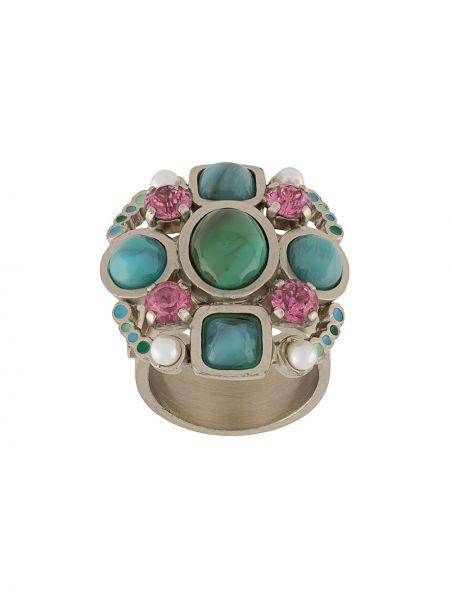 Niebieski pierścień metal z perłami Chanel Pre-owned