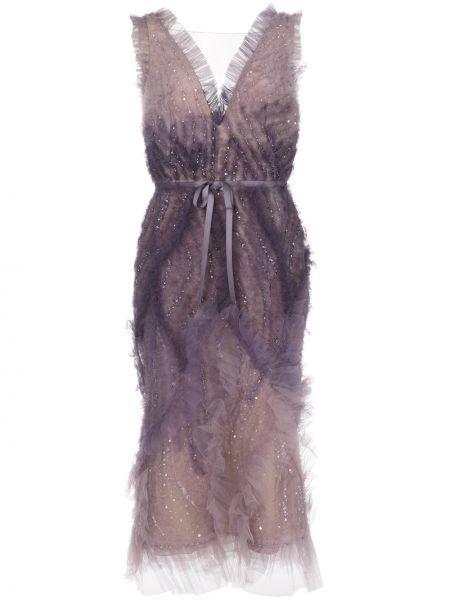 Платье миди с открытой спиной с пайетками Marchesa