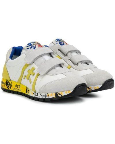 Кожаные белые кроссовки со вставками на липучках Premiata Kids