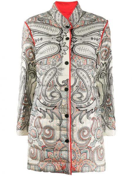 Длинное пальто с воротником на пуговицах с перьями Etro