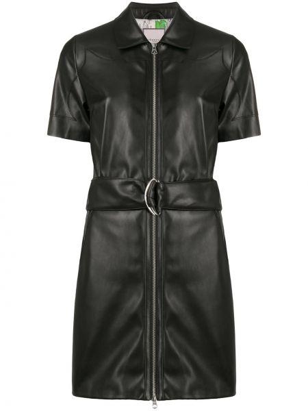 Платье с поясом с отложным воротником кожаное Urbancode